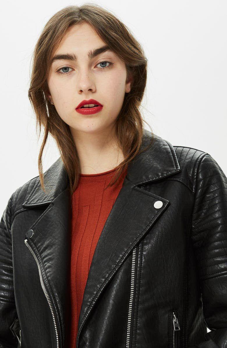 Topshop Rosa Biker Jacket Regular Petite Nordstrom In 2021 Leather Jacket Girl Biker Jacket Leather Outfit [ 1196 x 780 Pixel ]