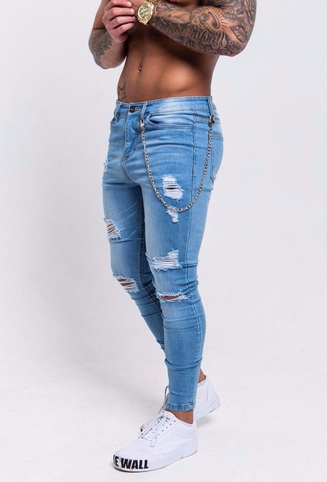 cb13a97bdf9 RIPPED AND REPAIRED SPRAY-ON SUPER SKINNY JEANS WITH CHAIN - LIGHT BLUE  Regular price £60.00 Men's ripped jeans, denim jeans #menspants #mensfashion