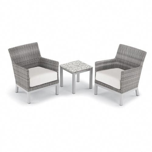 Oxford Garden Argento 3 Piece Outdoor Lounge Chair Set with End
