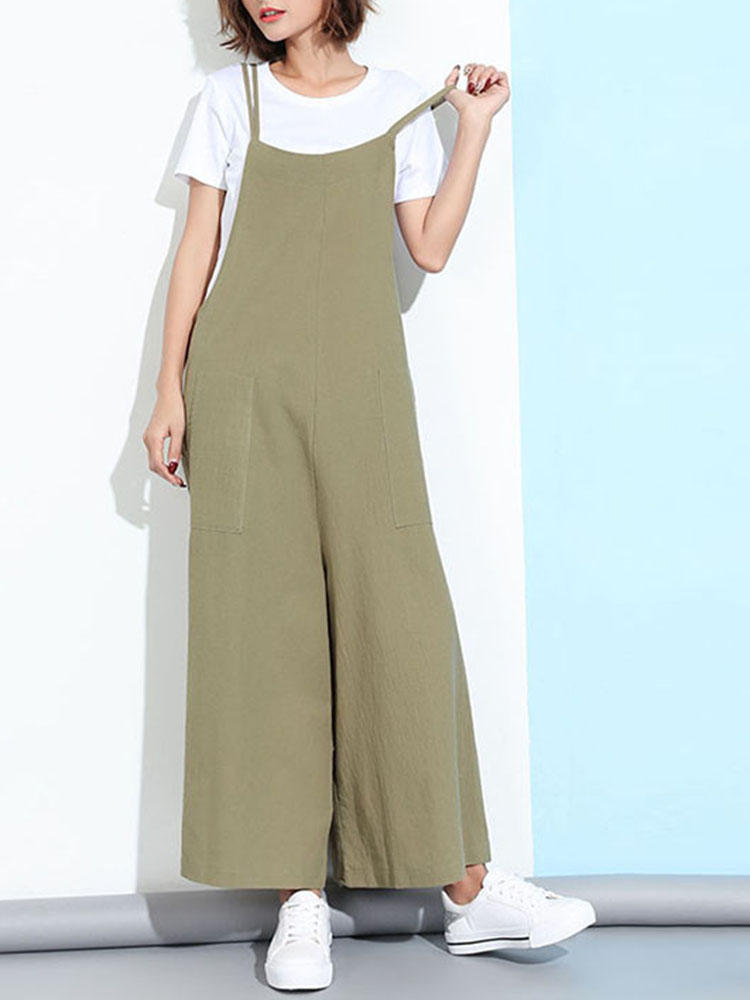 0a153c0cf0f8 Loose Casual Women Pure Color Wide-Leg Overalls With Pocket - Banggood  Mobile