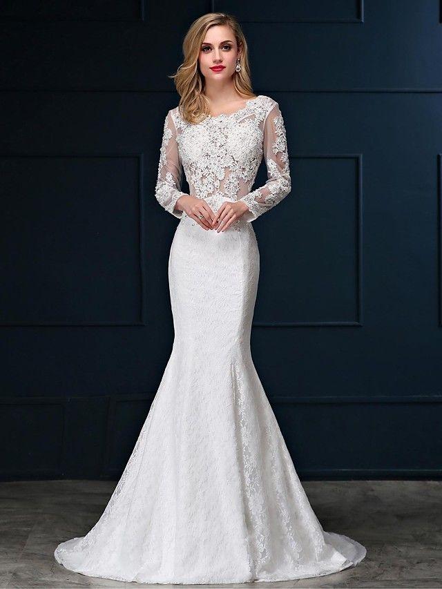 Trumpet / Mermaid Wedding Dress Sweep / Brush Train Scoop Lace ...