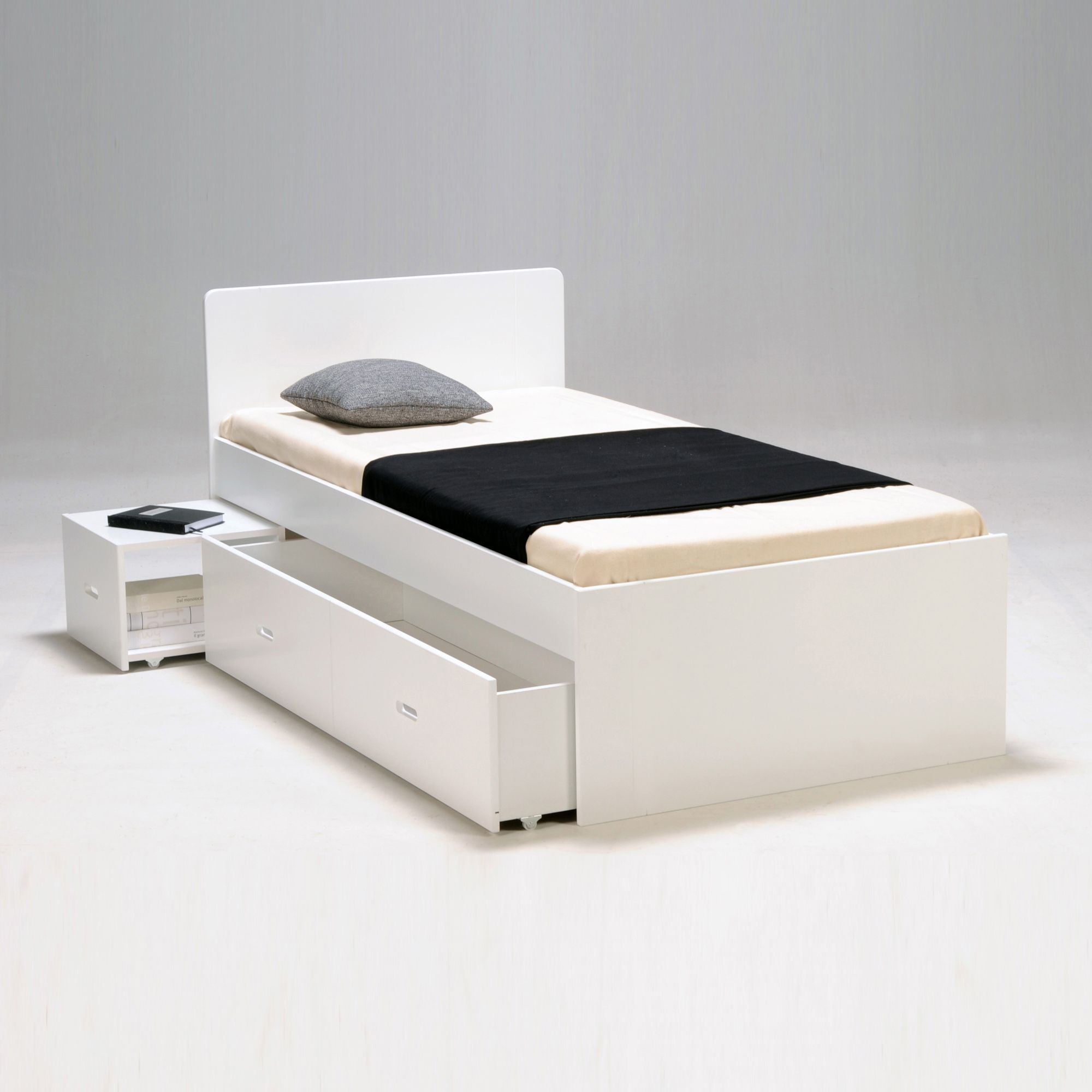 Lit blanc 90x200cm avec tiroirs et chevet Blanc laqué Zenia Lits
