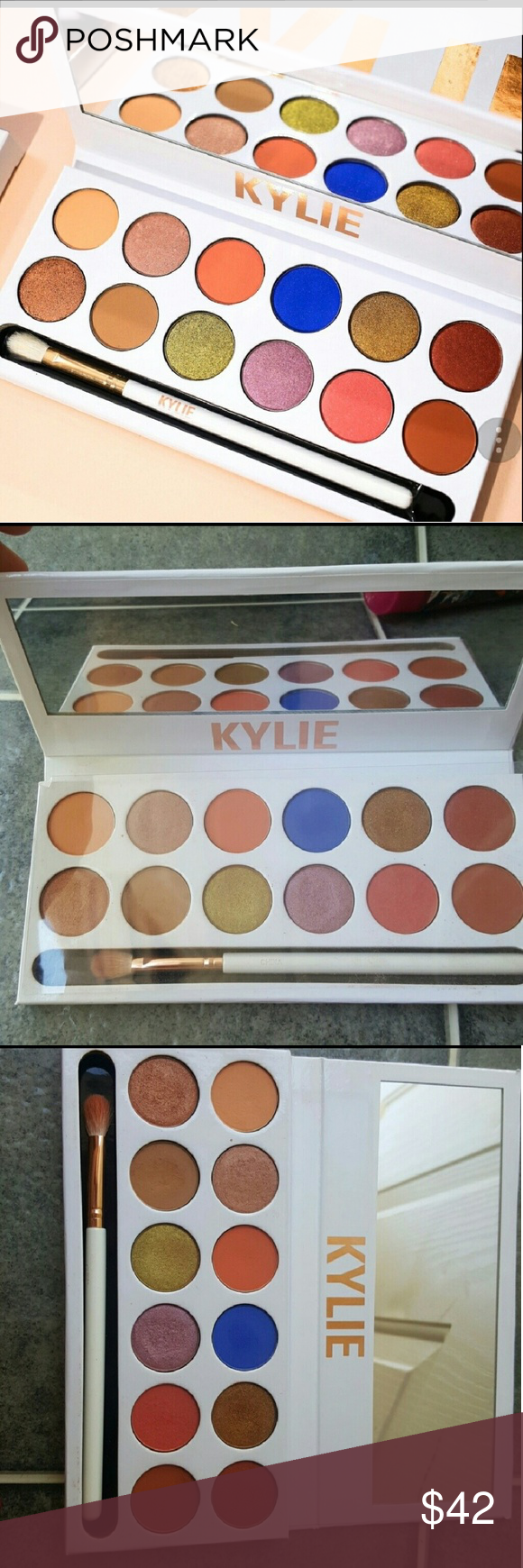 Kylie royal peach eyeshadow palette I swatched a few colors with q. Tips  some colors I never even touched. Colors weren't for me. 100% authentic  Trade for ...