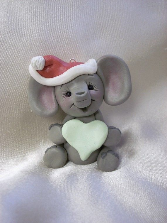 polymer clay elephant Christmas ornament sculpture by clayqts ...