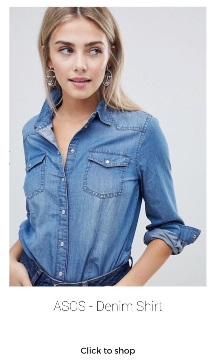 ASOS Denim Shirt (Sizes 2 - 10) - $42.00  #denimshirt #chambray #chambrayshirt #buttondownshirt #longsleeve #capsulewardrobe #capsulewardrobetops #tops #denimtop #denim #asos