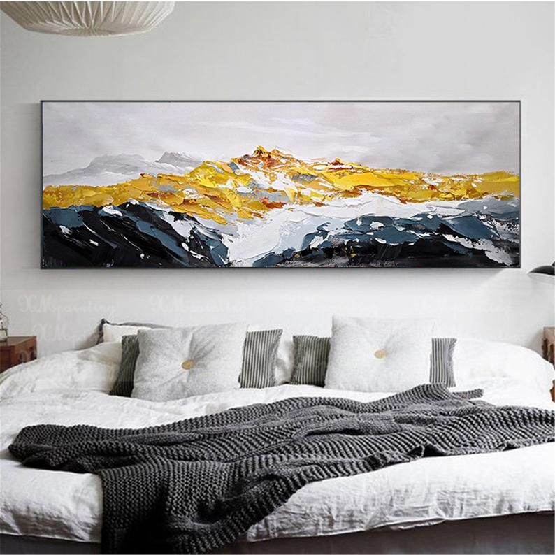 Framed Gold Art Abstract Painting Wall Art Picture For Living Etsy Bedroom Paintings Canvas Wall Art Pictures Gold Art Painting Bedroom decor canvas abstract painting