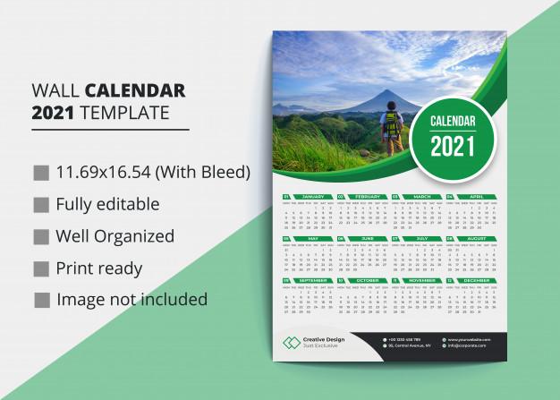 36 Kalender Dinding 2021 Hijau Desain Moderen Psd Dan Vector Calendar Design Template Wall Calendar Desk Calendar Template