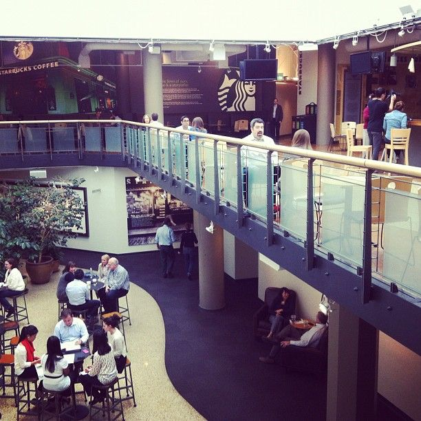 Check out Starbucks' commons area in their head office in Seattle - and those trees? Yep, they are coffee trees!