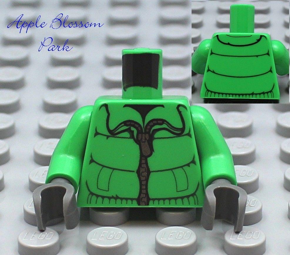 NEW Lego Girl//Boy MINIFIG TORSO Bright Green w//Winter Coat Ski Jacket Pattern