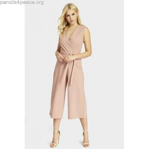 f46df9199a6b LOTD Look Of The Day Wrap Front Belted Culotte Jumpsuit Size 6 Uk BNWT Rose  Pink