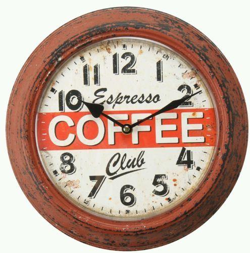 Vintage Antique Retro Round Decorative Iron Wall Clock Espresso Coffee Clocks