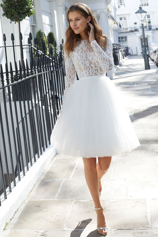 Beaded Long Sleeve A Line Wedding Dress Adore Wedding Dress Wedding Dress Long Sleeve Civil Wedding Dresses Tea Length Wedding Dress [ 3000 x 2000 Pixel ]
