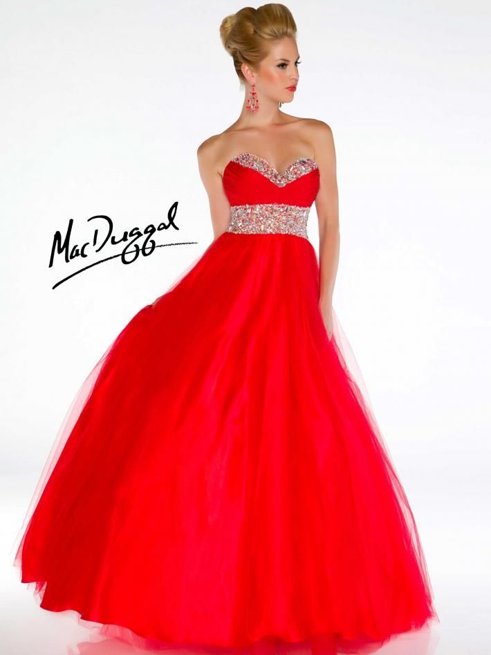 Red Ball Gown with Jeweled Waist and Neckline | Mac Duggal 4962H
