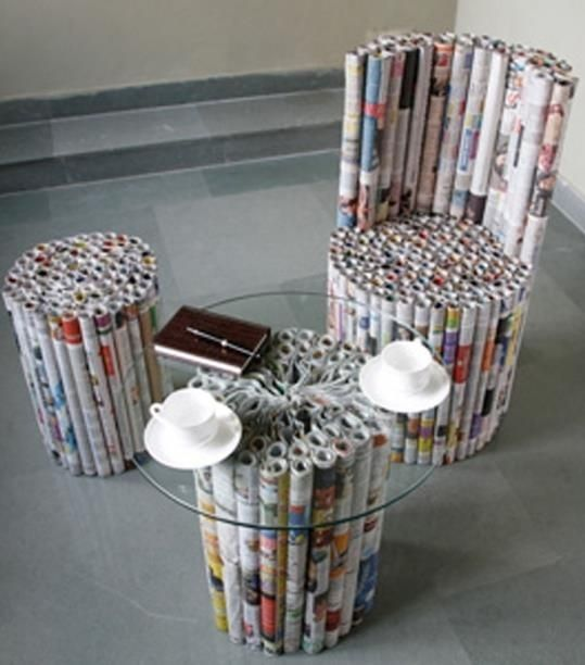 Old Newspaper Stool Diy Newspaper Paper Furniture Recycled Magazine