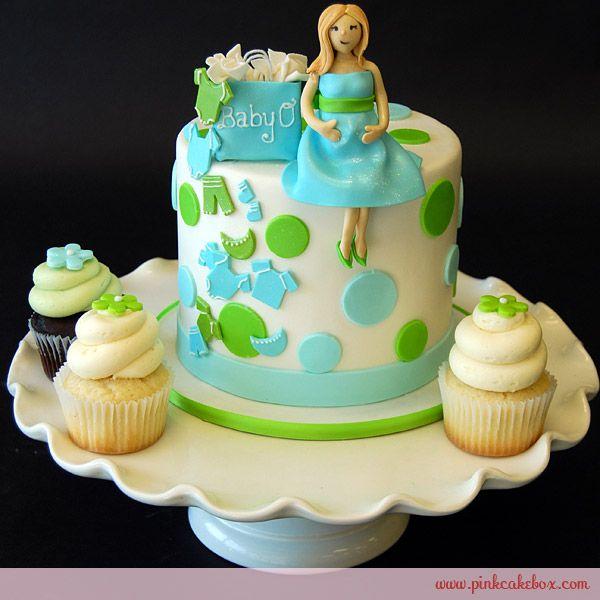 Lime Baby Blue Pregnant Mommy Cake Topper Custom Baby Shower
