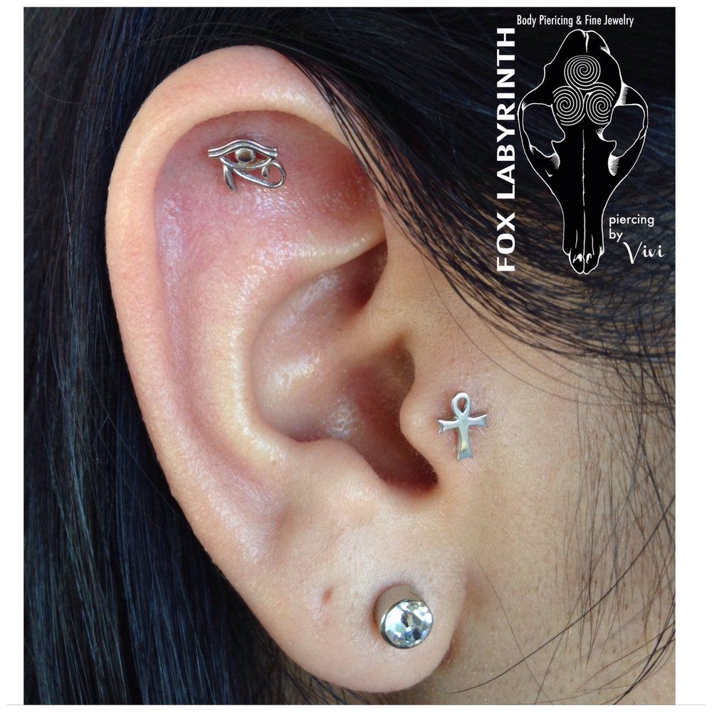 Ear piercing ideas simple  Fresh helix and tragus with k white gold Eye of Horus and k