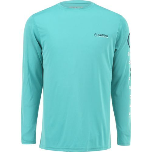 da67b5cf9c56 Magellan Outdoors Men s Casting Crew Moisture Management Long Sleeve T-shirt  (Baltic