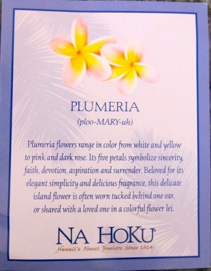 This Card Came With My Plumeria Necklace From Na Hoku The Fellas Bought For Me I In 2020 Hawaiian Tattoo Hawaiian Flower Tattoos Plumeria Tattoo