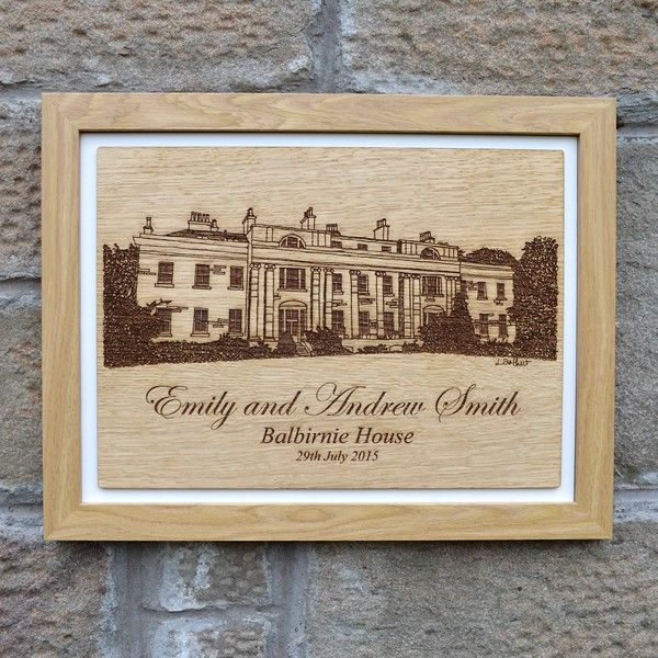 Personalised Wedding Venue Portrait Commissioned Drawing Of
