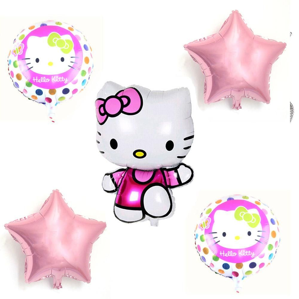 5pcs Mix Hello Kitty Balloons Cartoon Globos Pink Star Aluminium