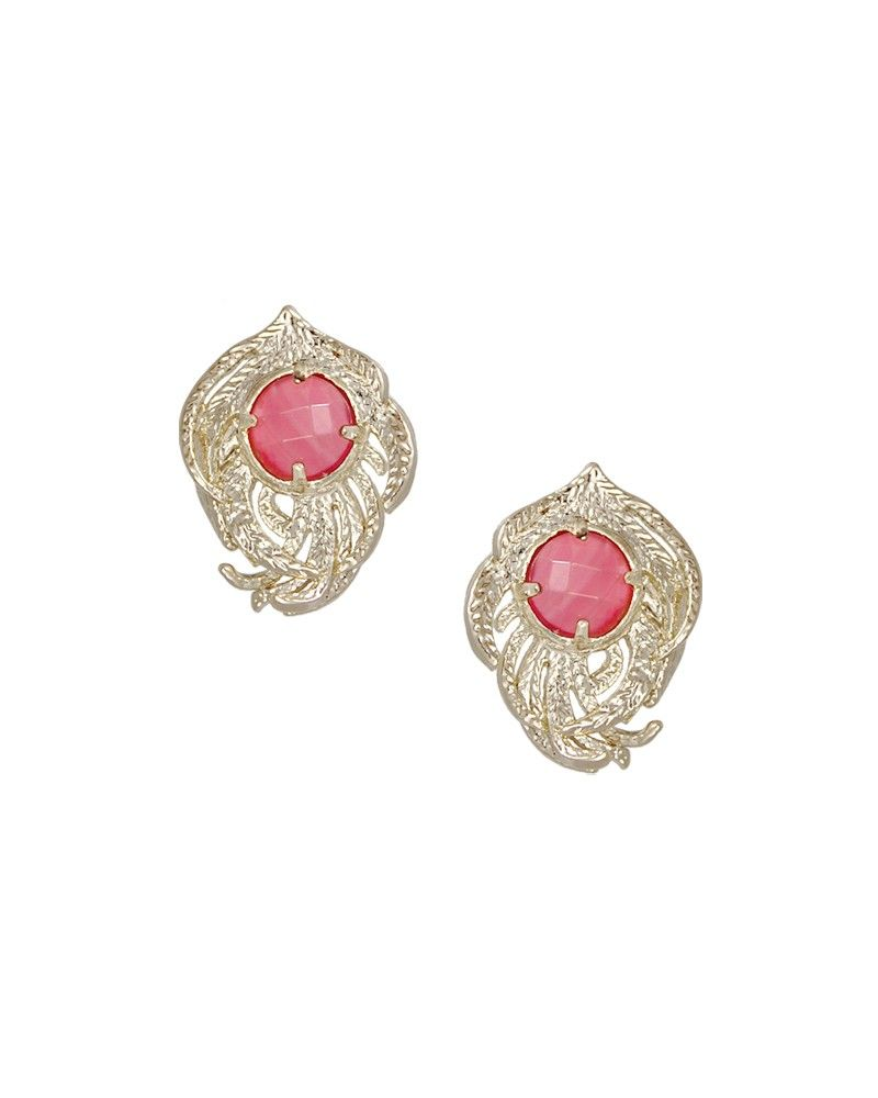 Hailey Feather Stud Earrings in Pink Kendra Scott Jewelry I want