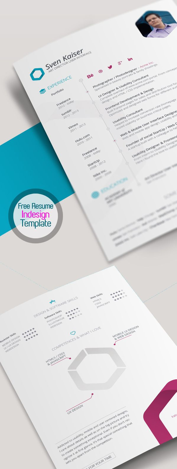 Free Modern Resume Templates Free Resume Template For Indesign Vita  Cv  Job Searchresume