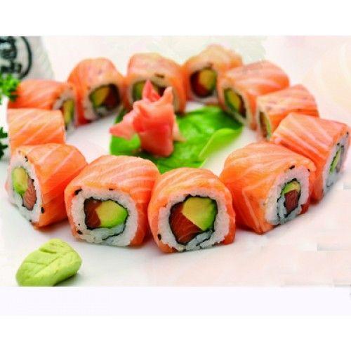 ( MENU LAS VEGAS ) ( 1 soupe , 1 salade 12 california saumon avocat enrobés de tranches de saumon ) en livraison avec 1boissons non a...