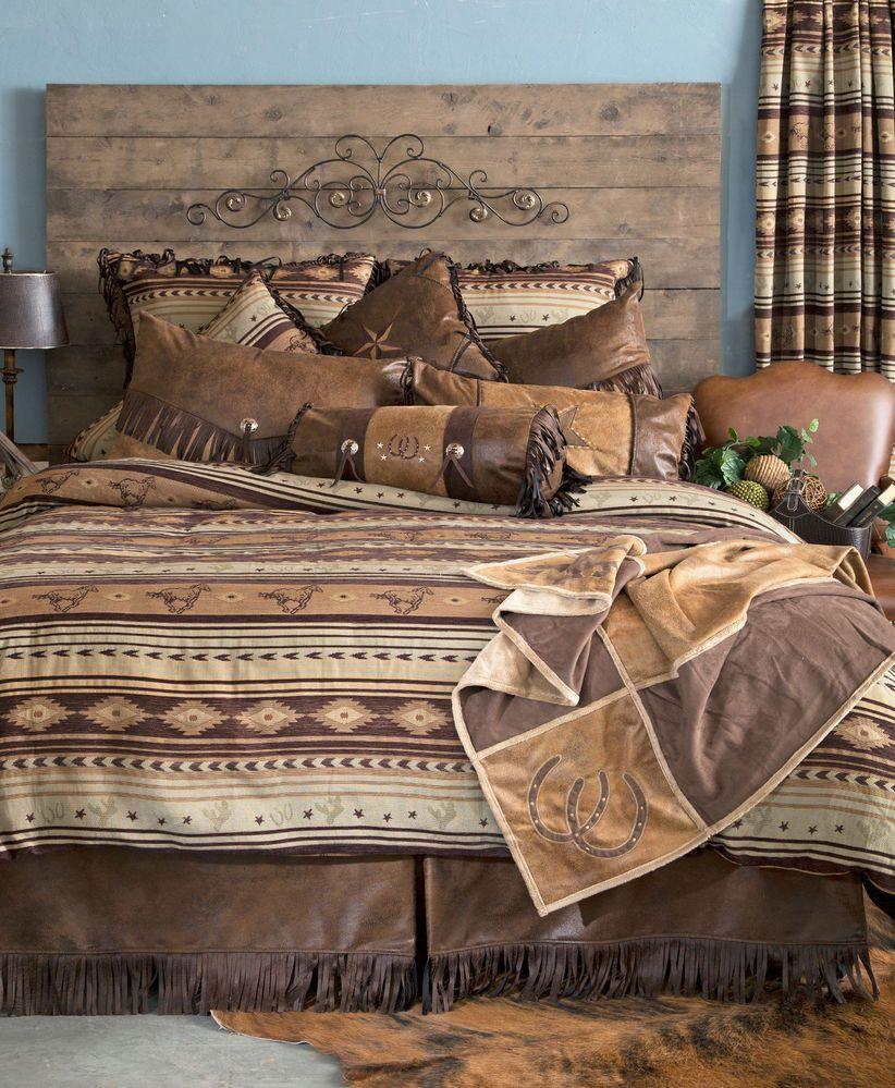 Cabin Brown Mustang Western Comforter Bedding Set Bed in a