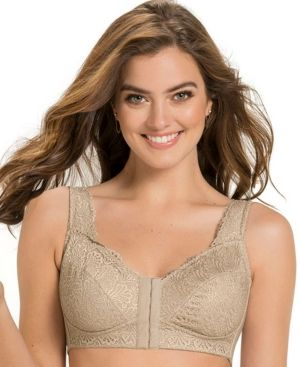 d47410b323819 Fabulous Lace Wireless Minimizer Bra - Tan Beige 38C
