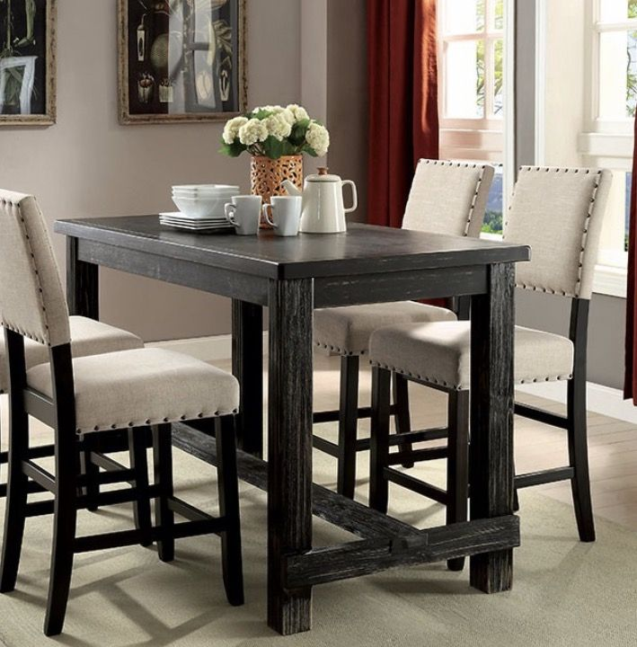 Furniture Of America Counter Height Dining Set. Black Driftwood Table, And  Cream Upholstered Chairs With Nailhead Accents.