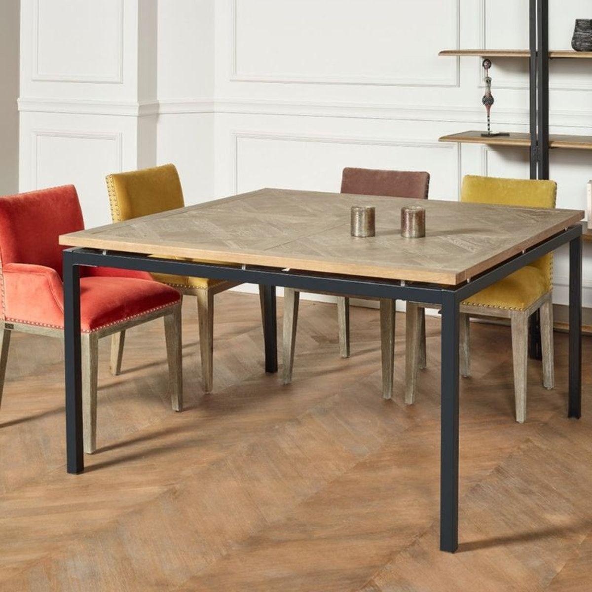 Table Carree Chene Massif Pieds Metal Zazie Table Salle A Manger Salle A Manger Table Carree Table Carree