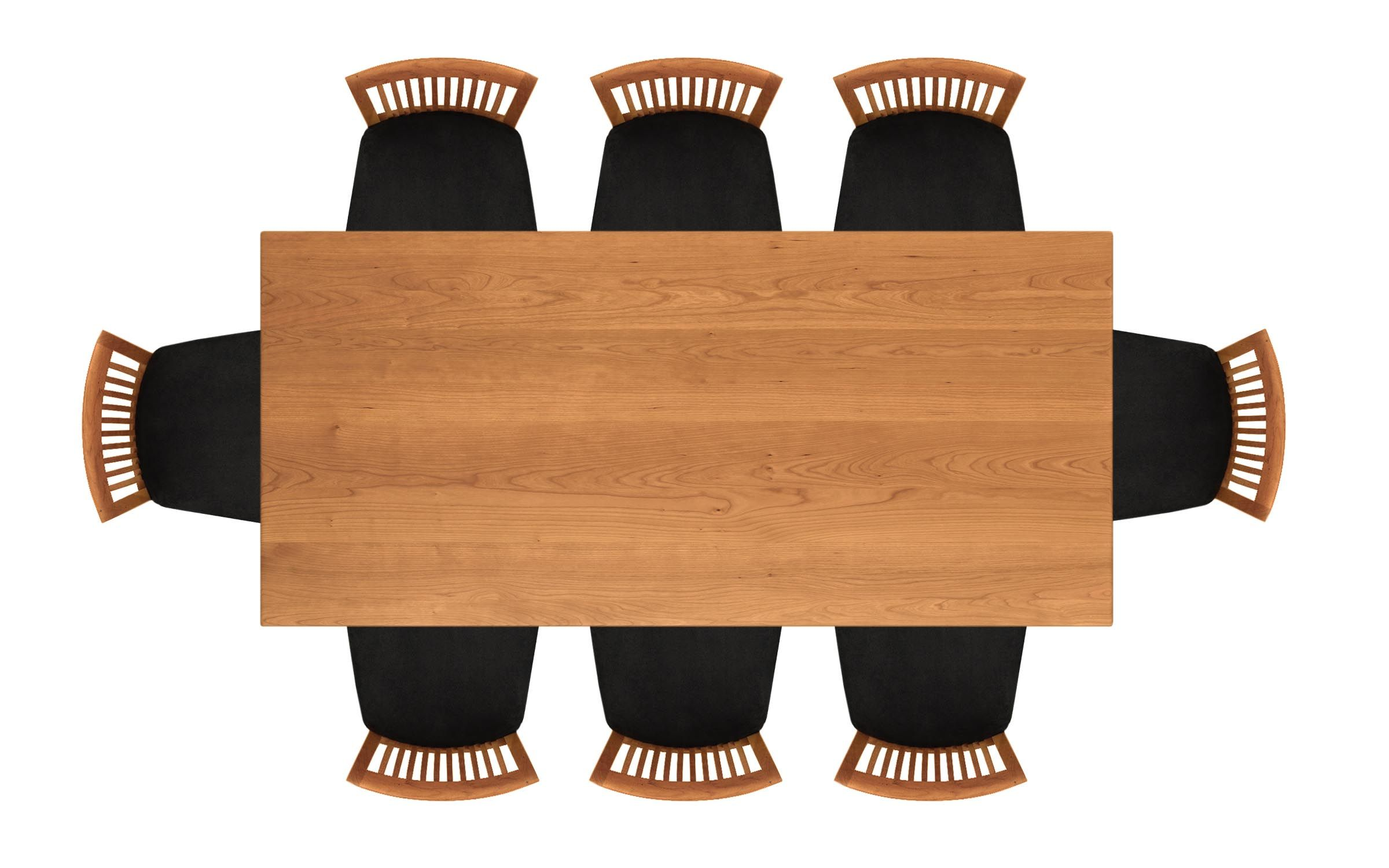dinner table top view. copeland furniture 36in x 78in four leg fixed top table 6-sar-04- dinner view a