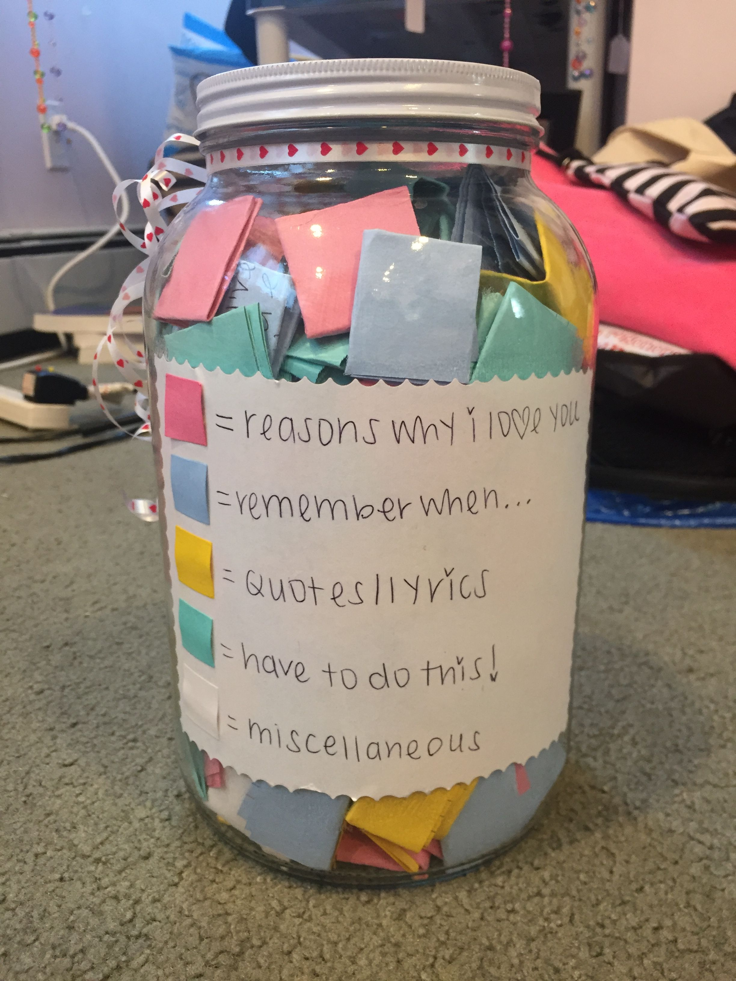 365 Note Jar | Diy christmas gifts for boyfriend, Cute ...