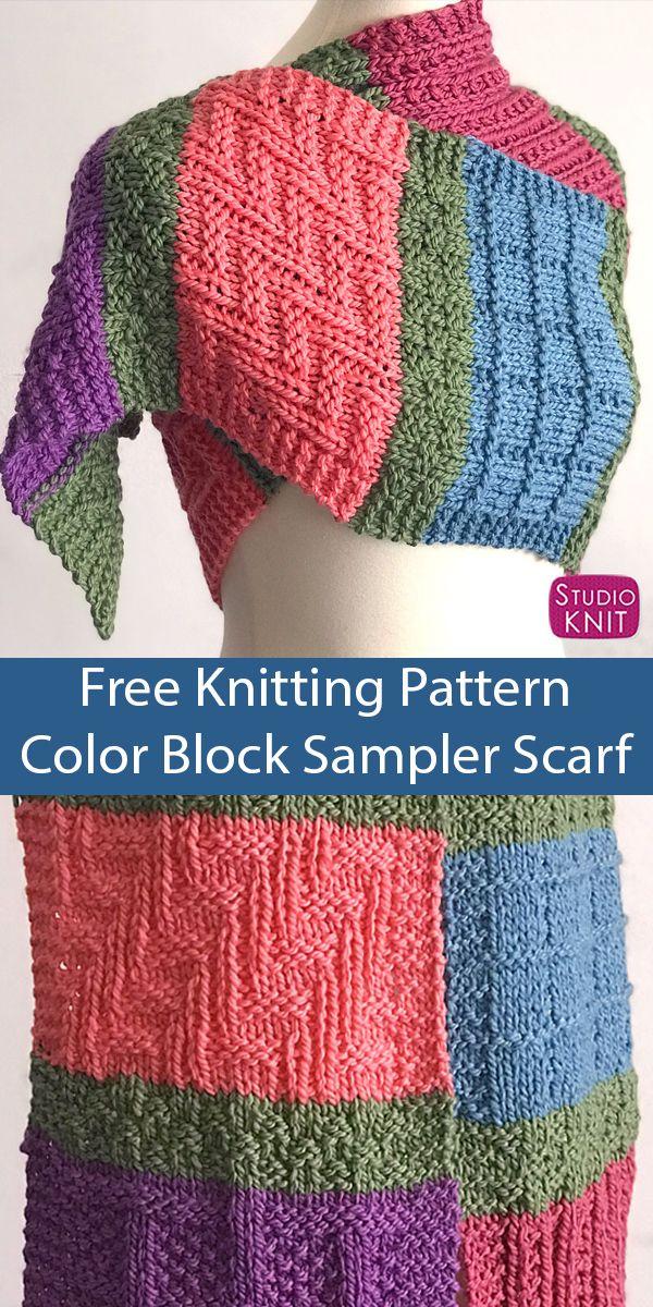 Free Knitting Pattern for Color Block Sampler Scarf ...