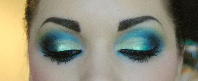 smoky blue look.