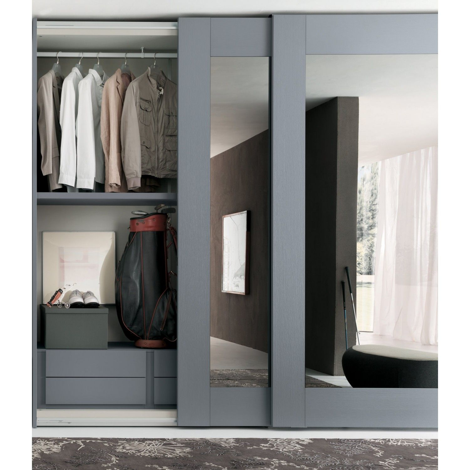 Mirror sliding wardrobe of Player collection with white glossy