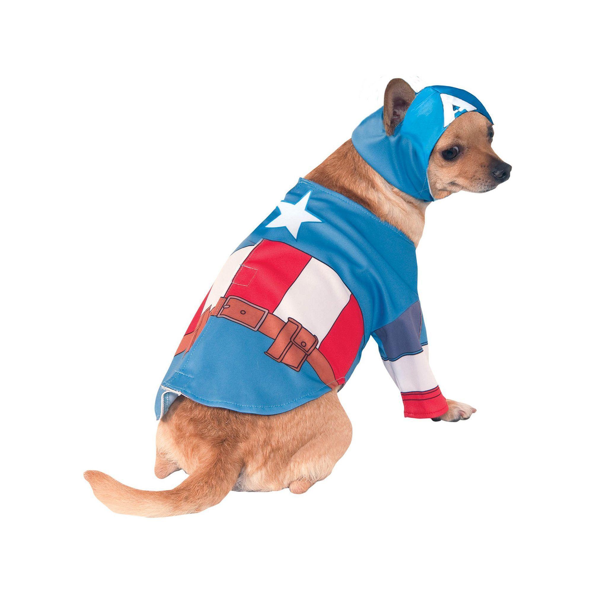 Pet Marvel Captain America Costume, Kids Unisex, Size: Medium, Red