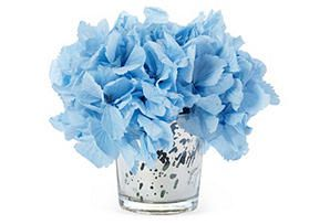 Hydrangea in Mercury Votive, Blue