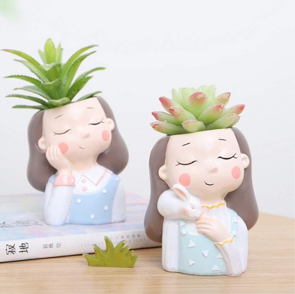 Cute head mini cactus pot plant in 2020 flower pots