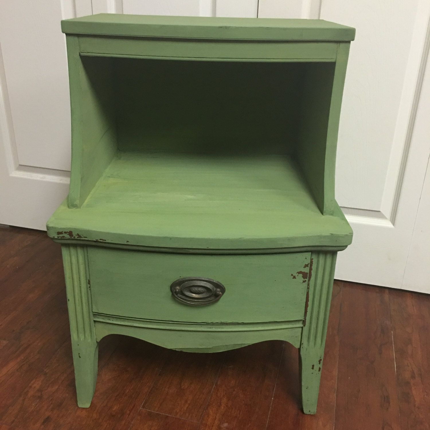 Shabby Chic Night Stand, End Table, Farmhouse Decor, Boxwood Milk Paint End  Table