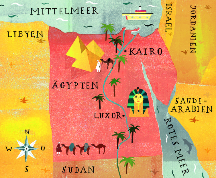 editorial map of Egypt by Marta Slawinska for the German national newspaper, Die Zeit, for an article about the anniversary of the discovery of Tutankhamun's grave