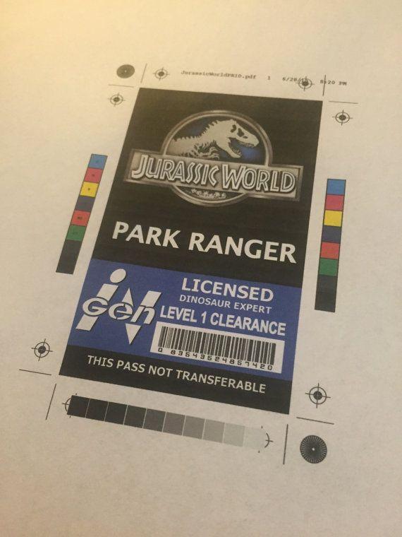 Park Ranger Id Badge Park Pass Jurassic World
