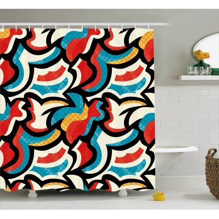 Psychedelic Shower Curtain Graffiti Street Art Style Pattern Retro Decorations Modern Teen Room Urban Print Fabric Bathroom Set With Hooks