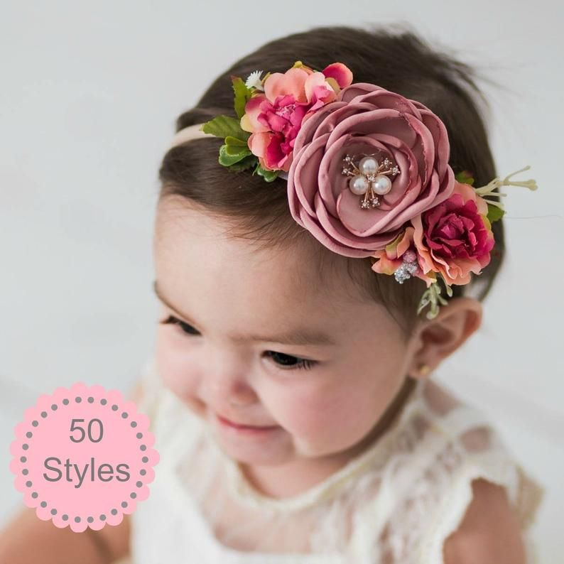 Flower pink headband with baby knot