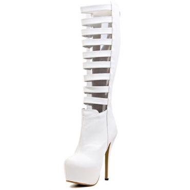 USD19.54Cheap Spring Autumn Round Toe Cut Outs Zipper Design Stiletto Super High Heels White PU Knee High Martens Boots
