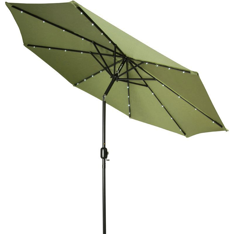 9 Foot Deluxe Solar Ed Led Lighted Patio Umbrella By Trademark Innovations Light Green