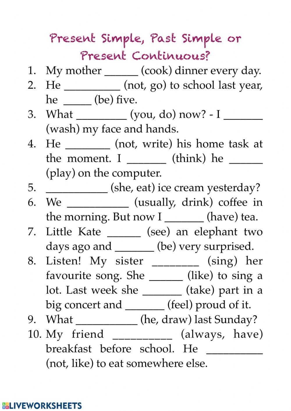 Verb Tenses Interactive And Downloadable Worksheet You Can Do The Exercises Online Or Learn English Words English Vocabulary Words English Grammar Worksheets [ 1413 x 1000 Pixel ]