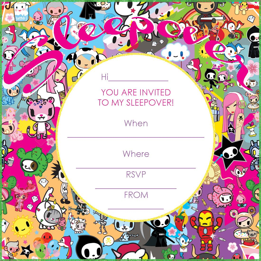 tokidoki birthday party printable tokidoki party invitation tokidoki birthday party printable tokidoki party invitation for a sleepover party click