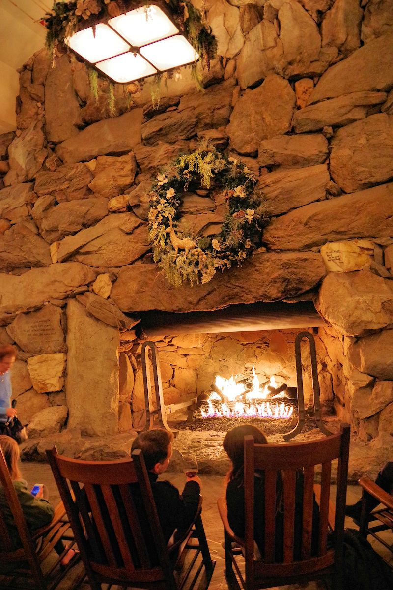 Huge Rock Stone Fireplace In The Lobby Of Omni Grove Park Inn