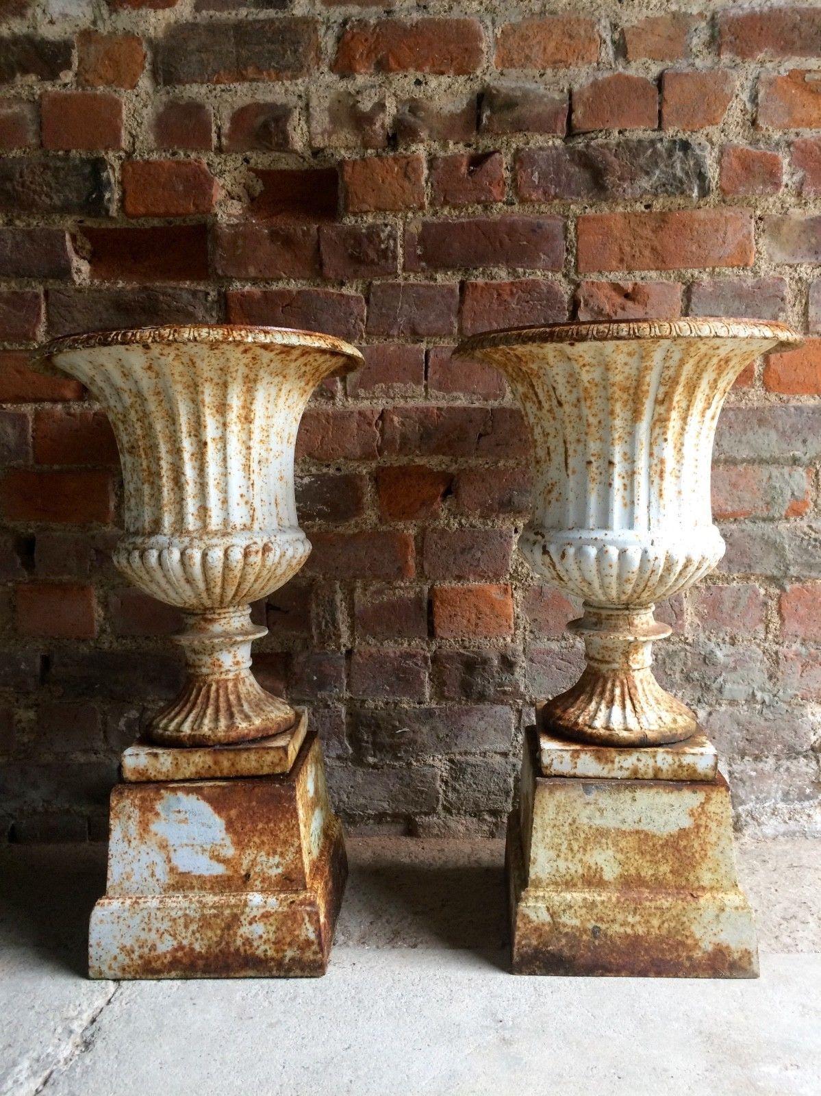 Beautiful Antique Pair Of Garden Cast Iron Urns Circa 1900 Ebay Antique Urn Antiques Urn